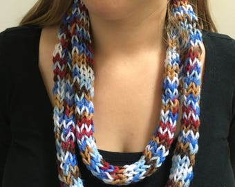 Scarf, Infinity Scarf, Knit, Accessory, Colorful, Blue, Maroon, White