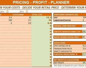 pricing profit calculator, profit planner, profit calculator, price planner