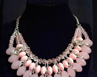 Pink And Silver Chain and Bead Necklace #78