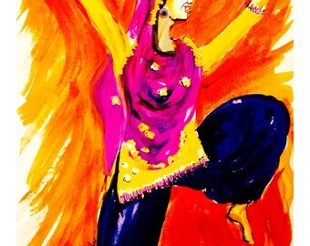 Dancer - folk dancer of India, bhangra dancer - fine art prints, wall decor