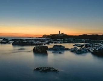 Godrevy Lighthouse, Cornwall, Wall Art, Seascape Print, | A2/A3/A4 sizes