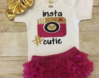 "Instagram Baby,  ""Insta Cutie"", Cute Baby Shower Gift, New Arrival, Instagram Famous, hashtag, trending, newborn girl coming home outfit"