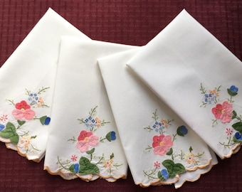 """4 Vintage Linen Towels with Applique Flowers and Embroidery  19"""" x 13"""""""