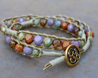 Double-wrap Bracelet with Fire Polished Beads
