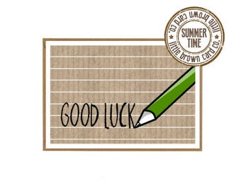 10 Pack of cards for your class - Pupils leaving - Teacher Goodbye - Good luck - Green Pencil. Plain or personalised.
