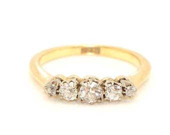 Antique/Vintage 18ct Gold Five Stone Diamond Engagement Ring, Size G