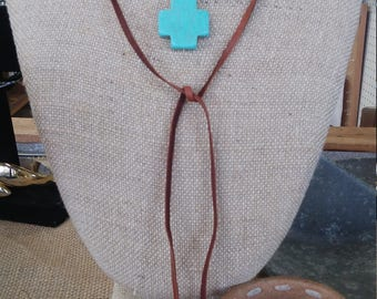 Leather and turquoise wrap necklace