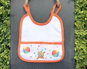 Cross stitch orange Embroidered bib, unisex baby bib, baby shower gift, baby birthday gift