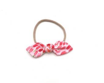 Red Tulip Bunny Bow Headband