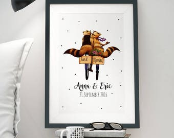 A3 Print Illustration Poster Wedding Marriage Date P08