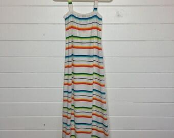 Vintage 1970s Southwestern Striped Knit Maxi Dress / Made by Clovis Ruffin Boutique / Sundress