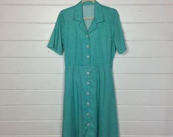 Vintage 1960s Teal Plaid Shirtdress / Flower Buttons / 60s Day Dress / Gingham Dress