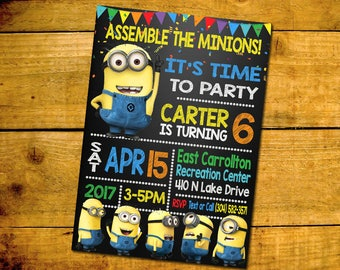 Minion Birthday Invitation -Minion Birthday Party Invitation -Minion Printable Digital File-Minion Invitation