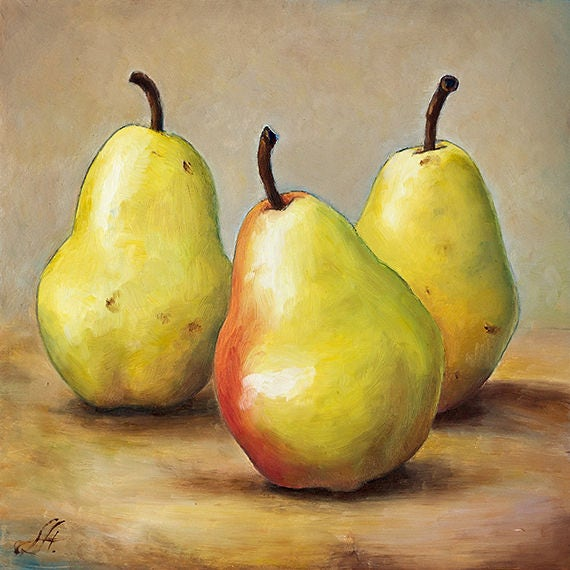 Giclee Print Oil Painting of Three Pears Wall Art for
