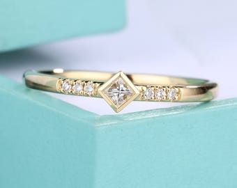 simple engagement ring Princess cut diamond wedding band 14k Gold delicate matching Promise Stacking Anniversary gift for her everyday ring