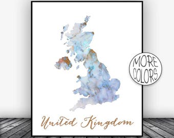 United Kingdom Print, UK Print, Watercolor Print, United Kingdom Map Art, Country Art, Office Decor, Country Map ArtPrintsZoe
