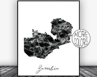 Zambia Print, Travel Map, Zambia Map Print, Travel Decor, Travel Prints, Living Room Wall Art Prints, Office Pictures, ArtPrintsZoe