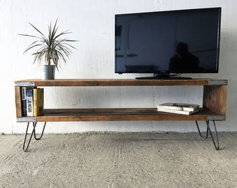 Industrial Reclaimed Timber Entertainment Unit. On Vintage, Retro Hairpin Legs