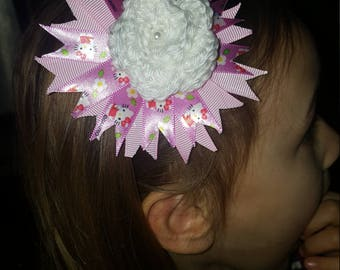 Pink and white hello kitty stretchy headband