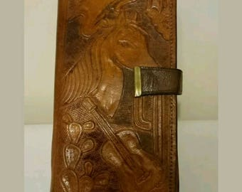 Vintage Tooled Leather Western Mexican Wallet
