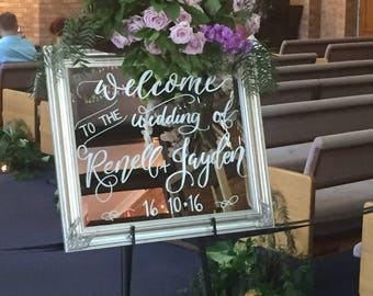 Wedding Mirror Sign - Welcome to our wedding sign, Calligraphy mirror sign,Wedding ceremony sign, Custom wedding mirror signs