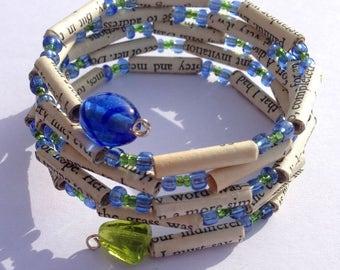 Blue and Green Sense and Sensibility Book Bead Bracelet
