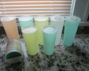 Tupperware Pastel Tumblers and Coaster Set