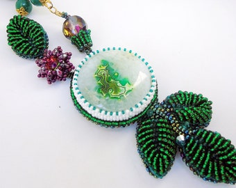 "Bead embroidery necklace ""From under the snow"" - agate necklace - beaded necklace - green necklace - natural stones necklace - handmade"