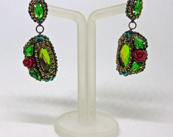 "Crystal earrings ""Geometry of spring"" - green earrings - rose earrings - bead embroidery earrings - stud earrings"