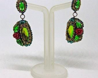 """Crystal earrings """"Geometry of spring"""" - green earrings - rose earrings - bead embroidery earrings - stud earrings"""