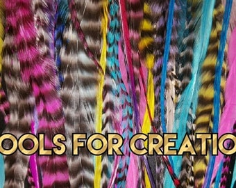 "25 Multi-Colored Fluffy Whiting Feather Hair Extensions 6 - 14"",  10 hair beads"