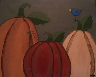 "Original 16X20 Acrylic Painting ""3 Pumpkins"" on Stretched Canvas"