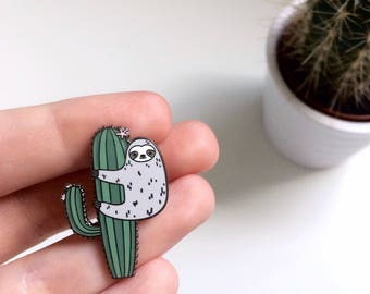 Sloth Enamel Pin - Cute Enamel Pin - Sloth - Cactus Enamel Pin - Cactus Lapel Pin - Hard Enamel - Sloth Pin - Sloth Gifts