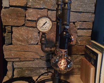 Steampunk Industrial Pipe Lamp-  #103 Copperhead