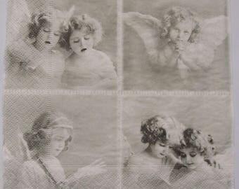 4 Decoupage Paper Napkins Angel Retro Vintage for Decoupage  Craft Scrapbooking 007