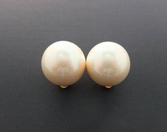 Vintage Pearl Earrings - Huge Faux Pearl Clip On Earrings With Gold Tone Setting, Signed Erwin Pearl, Quality Vintage Costume Jewellery