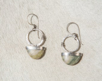 Sterling Silver Ring Set & Cut Stone Earrings