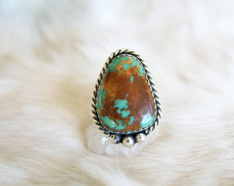 African Turquoise Silver Ring
