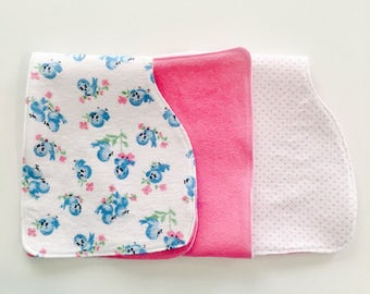 Baby Burp Cloths • Set of 3 Burp Cloths • Bluebird Burp Cloths • Baby Girl Burp Cloths • Baby Shower Gift • Burp Rag Set