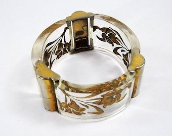 Art Deco Lucite Carved & Gilded Bracelet