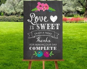 A4 Chalkboard Candy Sweet Cart Sign