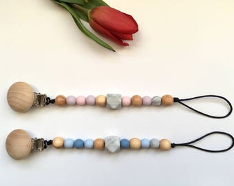 SPRING // Silicone + Juniper Wood Soother Clip/ Pacifier Clip