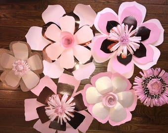 6 Pc Rosegold and Pink Paper flowers
