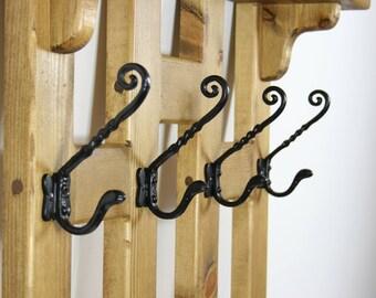Handmade Large Vintage Style 16 Hooks Wooden Coat Rack with Shelf Medium Oak