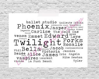 Complete Set Of The Twilight Saga Film / Movie Word Art Prints A4