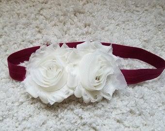 White and maroon headband