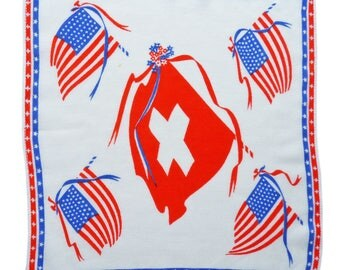 Souvenir hankie friendship USA Switzerland Flags