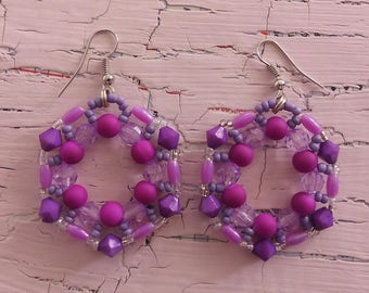 Hexagon Hoop Earrings in Purple