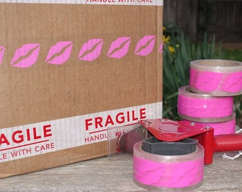 Light Pink Lips Tape 2 in. x 55 yds | Clear Packing Tape with Light Pink Lips | Lip Kit Packaging
