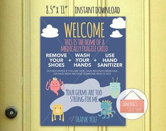 wash hands welcome sign printable instant download front door sign medically fragile child